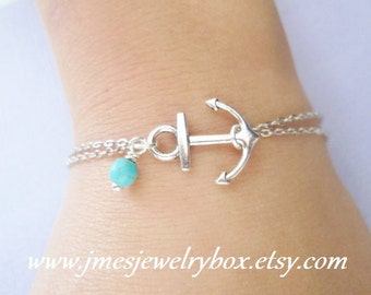 Silver double chain anchor bracelet with turquoise bead (Adjustable)