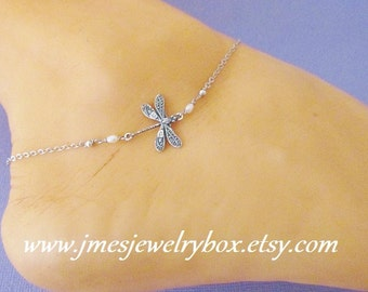 Silver dragonfly anklet (Adjustable)