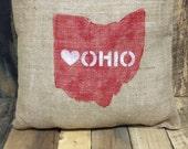 Burlap Love Ohio Pillow