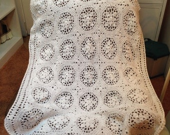Lacey White Hexagons Baby Blanket