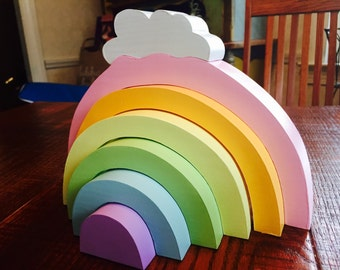 Pastel Rainbow Cloud Stacker, Wooden Toy / Waldorf Toys
