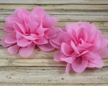 "Pink Chiffon Layered Flower - Lotus Flower - Solid Colored - 5"" Large"