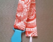 Universal Pacifier Clip - Orange Floral- Ready to Ship