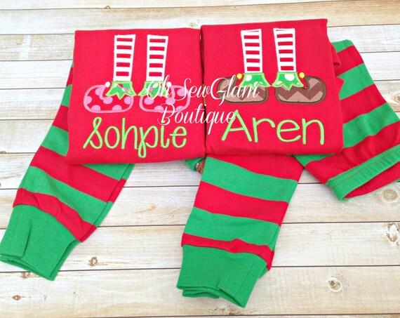 Elf Feet Christmas Pajamas Girls Pajamas Boys Pajamas