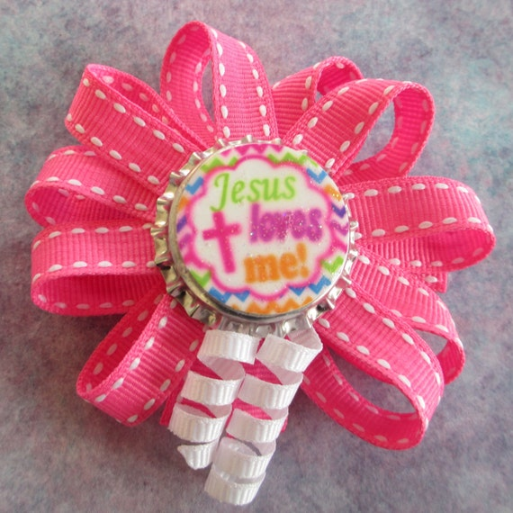 Christian themed Bottlecap Hair Bows