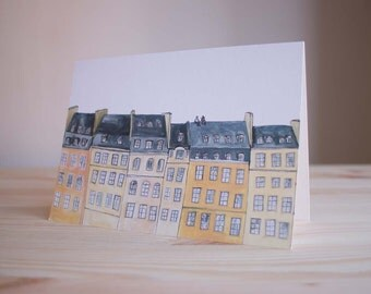 On the Rooftops of Paris  - Greetings Card