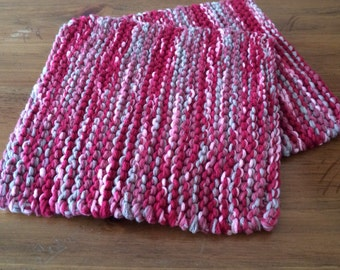 Hand Knit Pot Holders - Set of 2 - Red Hot Pad