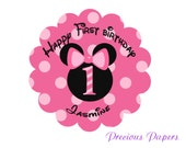 Personalized Minnie Mouse Birthday Stickers Minnie mouse Party Favor stickers Scalloped Labels Minnie Mouse Address Label