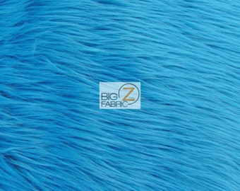 """Solid Shaggy Faux Fur Fabric - TURQUOISE - Sold By The Yard 60"""" Width"""