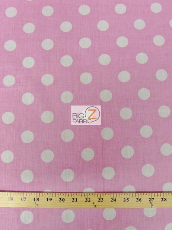 big polka dot polycotton fabric light pink white dots. Black Bedroom Furniture Sets. Home Design Ideas
