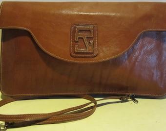 Vintage leather French designer bag, shoulder bag, clutch; vg condition!