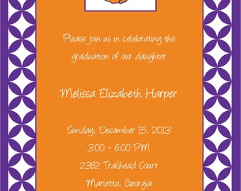 Set of 10 Orange and Purple, Clemson Invitations and Envelopes