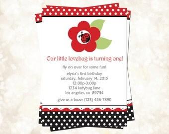 Printable Ladybug Birthday Party Invitations - Red & Black Polka Dot Design