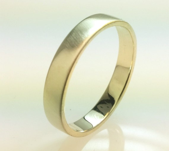Recycled 14k Gold Wedding Band RingBrushed Gold4mm His By Vaptism