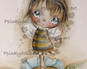 INSTANT DOWNLOAD Digital Digi Stamps..by Chrishanthi's art,Flower bee''