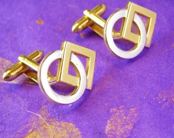 ETERNITY Wedding Cufflinks Interlocked Geometric Shapes Designer Swank Zin Zang  Cuff link mens Jewelry man woman yin yang