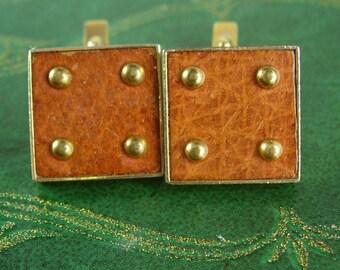 Medieval leather Cufflinks brass stud Viking vintage Cuff links renaissance revival Swank 1950's