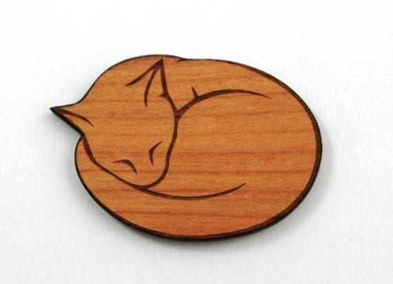 Laser Cut Supplies- 1 Piece.Sleeping Cat Charm - Cherry Wood Laser Cut Cat -Little Laser Lab Sustainable Wood Products