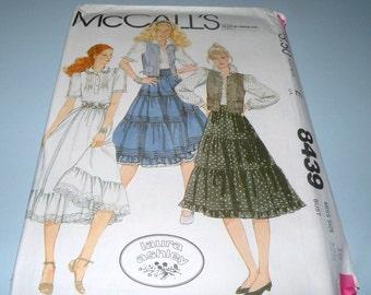 Laura Ashley McCalls 8439 Prairie Skirt, Blouse and Vest UNCUT size 10