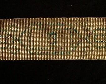 Vintage Gold Miyuki Seed Beaded Cuff Bracelet