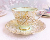 Pretty Mint Tea Duos with Gold Filigree