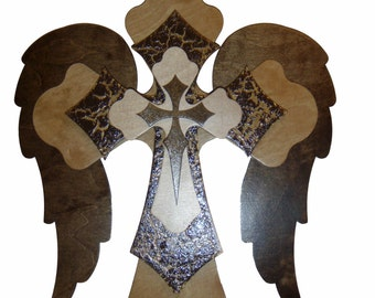 "Angel Wing Wood Cross Stacked Wooden Decorative Wall Crosses 15"" Inch Tall #FC15- W002"