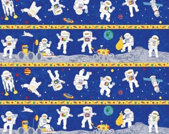 Blast off astronaut fabric outer space by fabricfrantic on for Space mission fabric