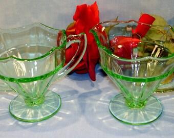 Green Depression Glass Creamer and Sugar, Scalloped