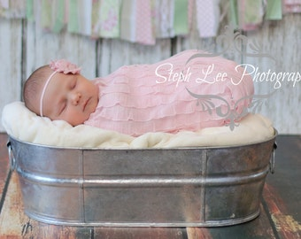 Vintage Pink Shabby Chic Flower on a Skinny Headband, Newborn Headband, Infant Headband, Photo Prop, Many Colors