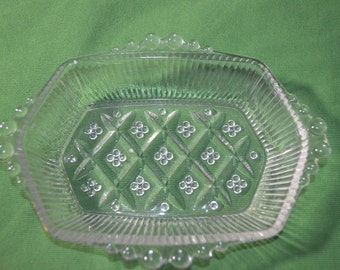 ON SALE   Vintage Clear Glass Dish