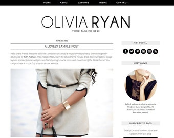 "Wordpress Theme Premade Blog Template Design - ""Olivia Ryan"" Instant Digital Download"