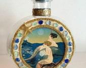 Mermaid Art, Beach Decor, Sea Glass Art, Mermaid Gift, Sea Glass Bottle, Art Deco Mermaid, Coastal Decor, Beach Glass Art, Mermaid Decor