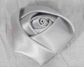 "1 1/4"" Silver Satin Ribbon Rose, Trim, Wedding Supplies, Scrapbooking - 12 pieces  - 32mm Silver Rosebud"