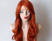 Ginger red wig. Long wavy soft layered hair long side bangs wig for daytime use or Cosplay.