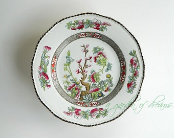 Antique Indian Tree pattern Burgess & Leigh dinner plate handpainted transferware farmhouse kitchen cottage home decor English