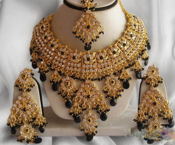 Indian Jewellery Set Handmade Gold Alloy and Rhinestones Black & Clear