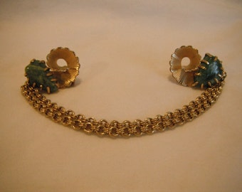 Vintage sweater clip, green stones