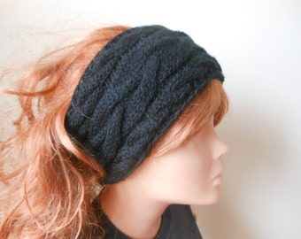Cable Hand Knit Headband  Ear Warmer Head Warmer Black