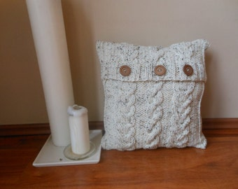 Cable Knit Pillow Cover Pillow Cream Oatmeal Pillow Decorative Knit Pillow Handmade Home Decor 16x16 20x20