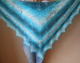 Lace shawl mohair yarn blue blue turquoise , hand knitted