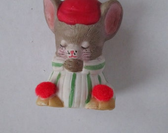 Christmas Mouse Ornament Bell Jasco Taiwan Red Pom Pom Slippers