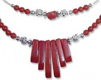 Red Jasper Spike Necklace