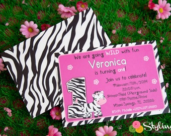 Zebra Party Invitation (25 or 50 count)