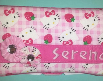 Diaper Wipes Case in Pink Check Hello Kitty with Baby's Name, Girl's Baby Shower Gift, New Mommy Gift, Baby Girls, Gift for Baby, New Baby