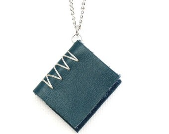 Mini Book Necklace: Hand Sewn Blue Leather Journal Necklace
