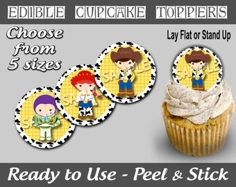 PreCut Edible Icing Frosted Image Mini Standard Cupcake Cookie Cake Lollipop Toppers Story About Toys Birthday Party Celebrate (NW1057)