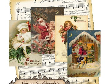 Digital Christmas Cards and Tags, Digital Christmas Tags, Shabby Digital Labels, Vintage Scrapbook Tags or Labels. No. ch.203