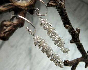 Diamond Earrings, Gemstone Earrings, Dangle Earrings, Stone Earrings, Gemstone Jewelry, Earrings, Handmade Earrings, Gemstone Cluster
