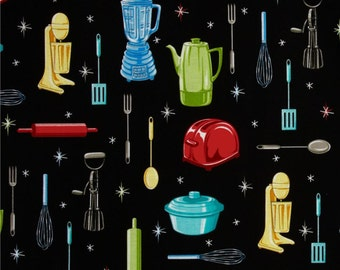 1 Yard, Kitchen Utensils/Gadgets on Black Cotton
