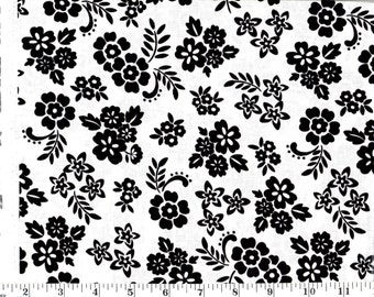 1 yard 24 inches, Black Flowers on White Cotton
